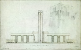 It's unclear whether this 1947 design is Sir Giles Gilbert Scott's; from https://www.architecture.com/Explore/Revealingthecollections/BanksidePowerStation1947.aspx