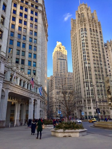 Tribune Tower (R), the Wrigley Building (L)